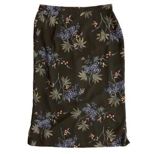 Retro dark floral midi skirt